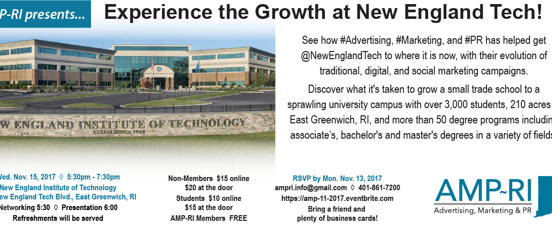 "November 15, 2017: ""Experience the Growth at New England Tech!"""